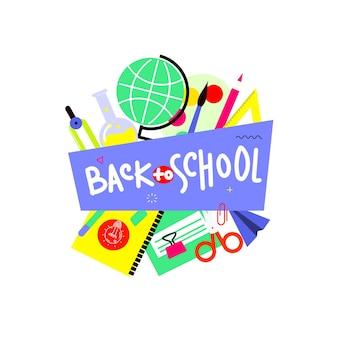 De volta ao banner da escola, design plano, ilustração em vetor modelo plano de fundo com citação de letras. eps10.