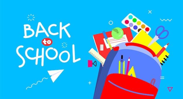 De volta ao banner da escola, design plano, ilustração em vetor modelo plano de fundo com citação de letras. material escolar colorido na mochila. eps10.