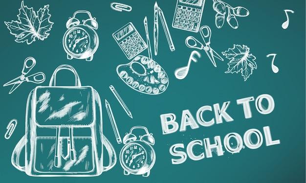 De volta ao banner da escola. material escolar de venda na textura de desenho de contorno de giz