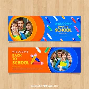 De volta ao banner da web da escola com a coleção de fotos