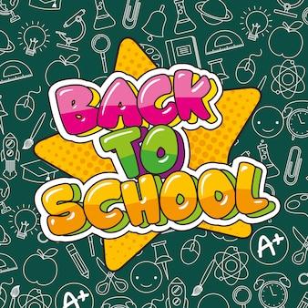De volta ao cartão da escola com desenhos animados