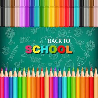 De volta ao cartão da escola com lápis coloridos