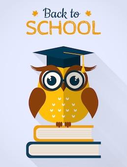 De volta ao cartão de vetor de escola com coruja plana sentado em livros.