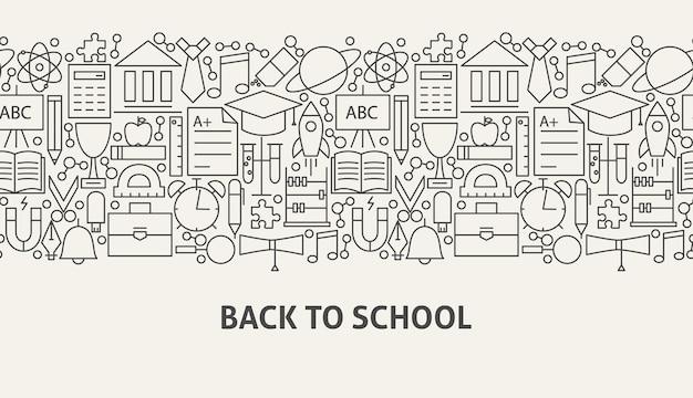 De volta ao conceito de bandeira da escola. ilustração em vetor de linha web design.