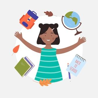 De volta ao conceito de escola com retrato de avatar de estudante feliz garota negra negra de uma jovem aluna