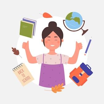 De volta ao conceito de escola com retrato de avatar de estudante garota asiática feliz de uma jovem aluna
