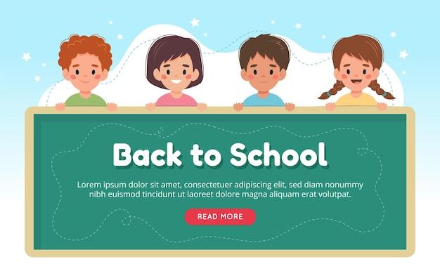 De volta ao conceito de escola, crianças com personagens fofinhos no quadro-negro