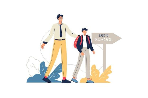 De volta ao conceito de web da escola. pai e filho vão para a escola juntos. o aluno corre para a sala de aula. educação primária, formação de alunos, cena mínima de pessoas. ilustração vetorial em design plano para site