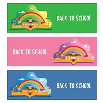 De volta ao conjunto de design de banners de escola