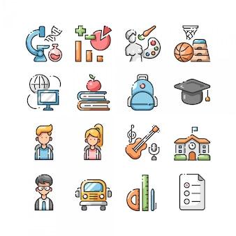 De volta ao conjunto de ícones de cor lineal de escola
