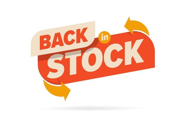 De volta ao estoque informação etiqueta sinal disponível para venda emblema promocional.