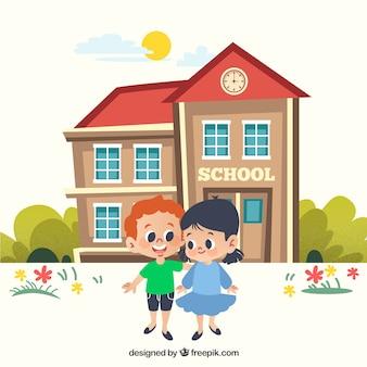 De volta ao fundo da escola com as crianças na frente do prédio