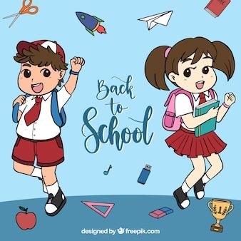 De volta ao fundo da escola com estilo desenhado mão