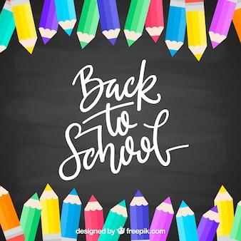 De volta ao fundo da escola com lápis coloridos
