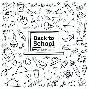De volta ao fundo da escola com mão desenhar suprimentos doodle