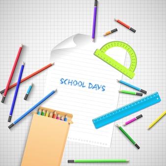 De volta ao fundo da escola com material escolar colorido