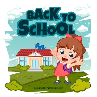 De volta ao fundo da escola com o aluno feliz