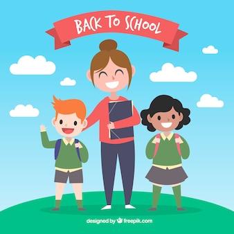 De volta ao fundo da escola com o professor e as crianças