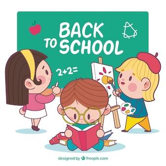 De volta ao fundo da escola com os alunos