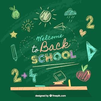 De volta ao fundo da escola com quadro-negro