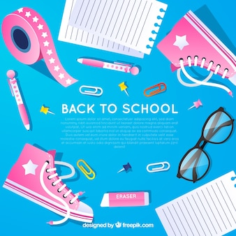De volta ao fundo da escola com sapatos e materiais