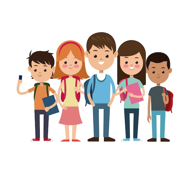 De volta ao grupo escolar alunos estudante pronto