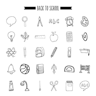 De volta ao ícone de material escolar conjunto
