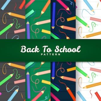 De volta ao padrão sem emenda de cor de lápis de escola