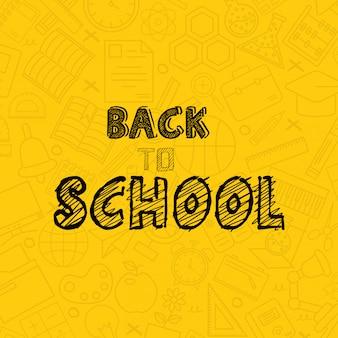 De volta ao projeto da escola com vetor de fundo amarelo