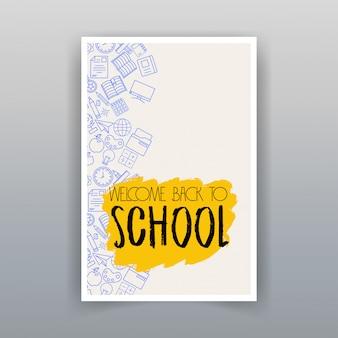 De volta ao projeto da escola com vetor de fundo branco