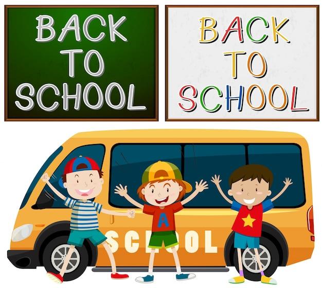 De volta ao tema da escola com crianças e ilustração da van da escola