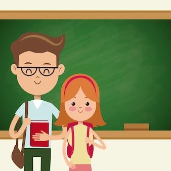 De volta aos alunos da escola casal com quadro-negro