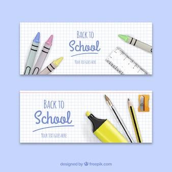 De volta aos banners da escola com ceras e outros elementos realistas