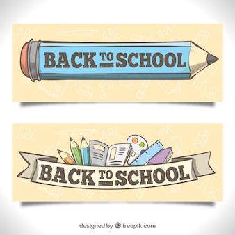 De volta aos banners da escola com estilo desenhado mão