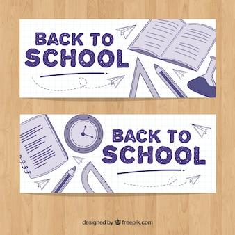 De volta aos banners da escola com material desenhado à mão