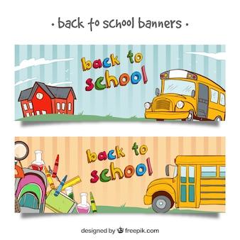 De volta aos banners da escola com ônibus e elementos desenhados à mão