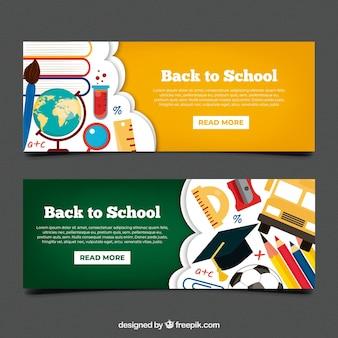 De volta aos banners de escola com design plano