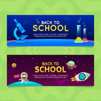 De volta aos banners de escola em estilo gradiente