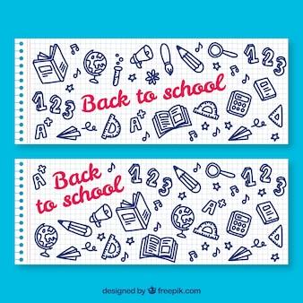 De volta aos banners de papel da escola com elementos desenhados à mão