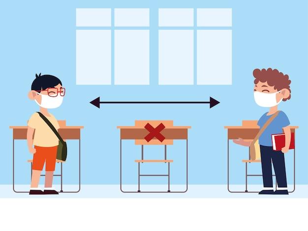 De volta às aulas, alunos adolescentes na sala de aula mantêm ilustração de distância física