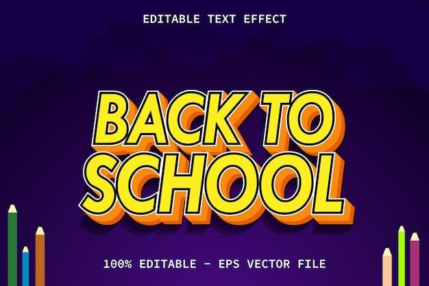 De volta às aulas com efeito de texto editável de estilo moderno