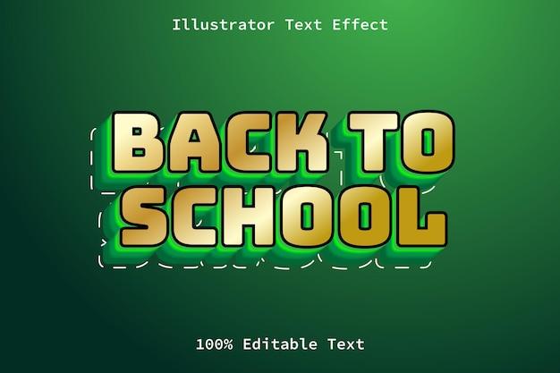 De volta às aulas com efeito de texto editável em estilo de desenho animado moderno