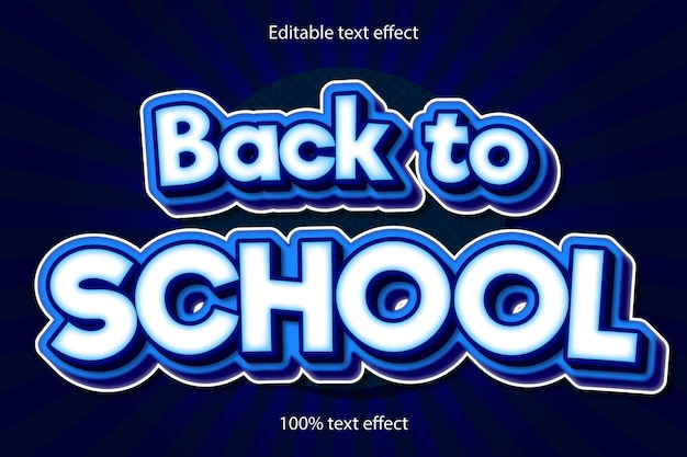 De volta às aulas com efeito de texto editável em relevo estilo cartoon