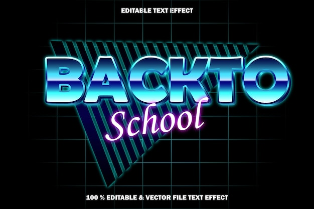 De volta às aulas com efeito de texto editável estilo retro
