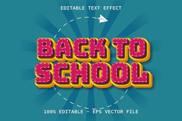 De volta às aulas com efeito de texto editável no estilo desenho animado moderno