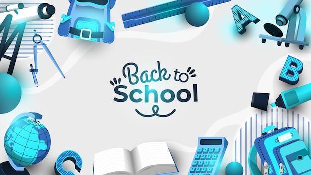 De volta às aulas com fundo azul