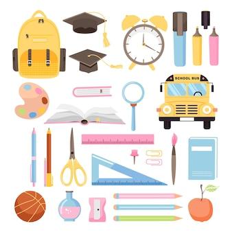 De volta às aulas, conjunto de coleta de vários materiais escolares