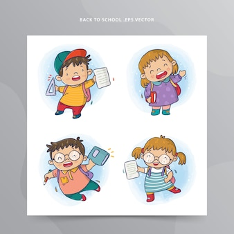 De volta às aulas, conjunto de meninos e meninas com mochilas e ilustração de livros.