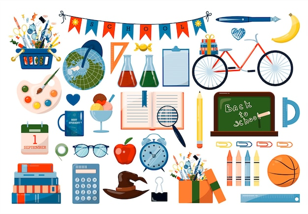 De volta às aulas conjunto de vetores grande desenho animado material escolar um conjunto de ícones coloridos