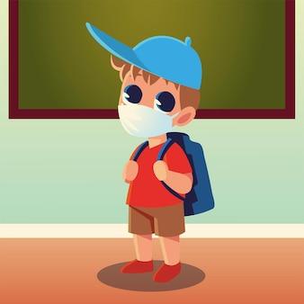 De volta às aulas de menino com máscara médica e chapéu, tema distanciamento social e educação